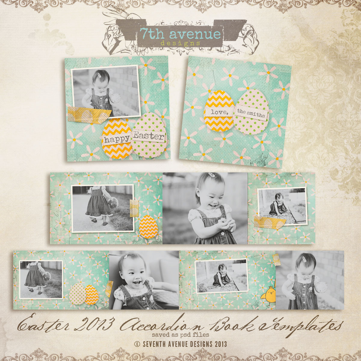 Easter 2013 3x3 Accordion mini templates