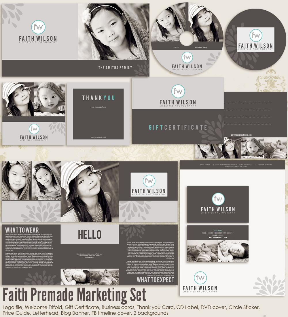 Faith premade photography marketing set templates ms faith 2000 7thavenue designs for Photography marketing templates