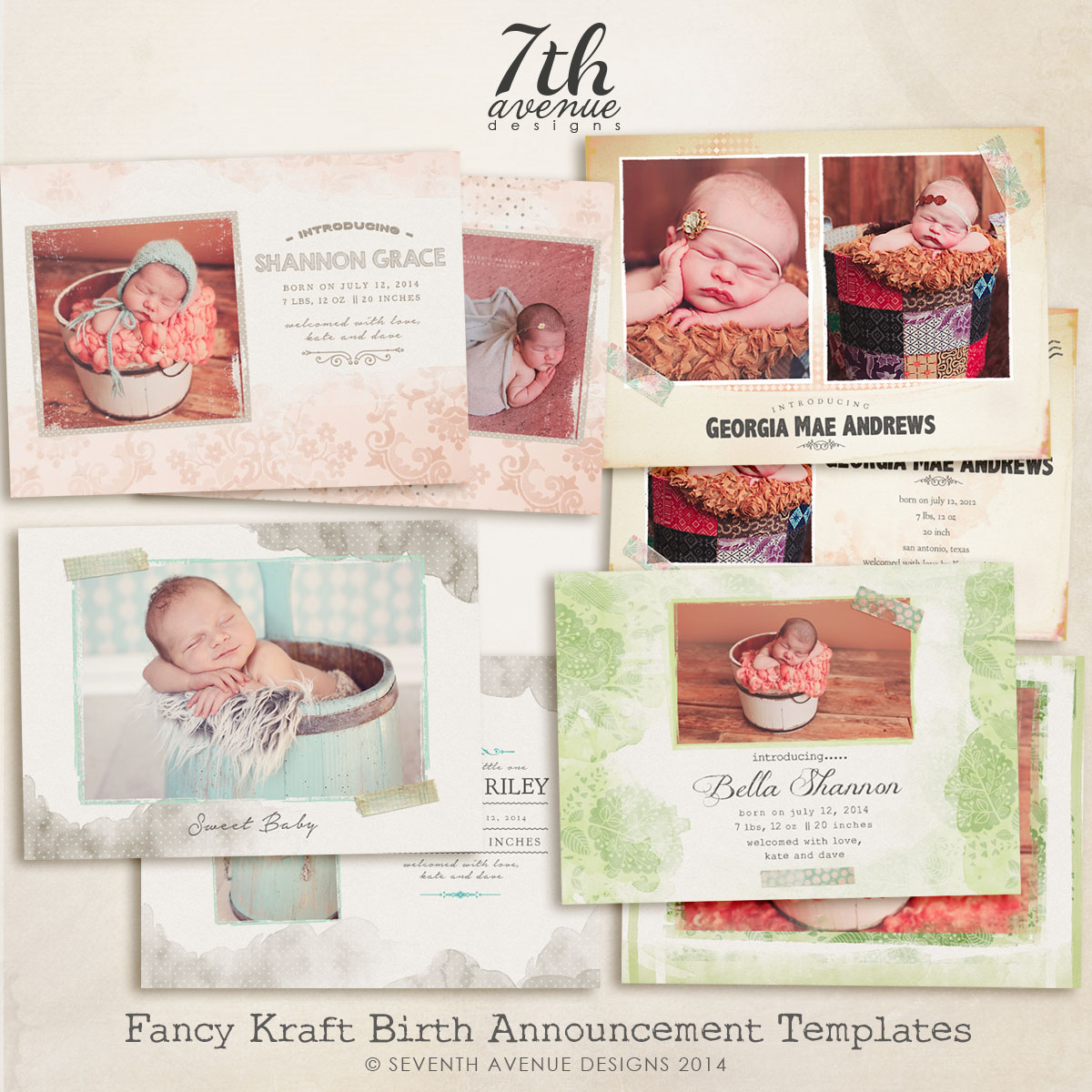 Fancy Kraft Birth Announcement Card Templates