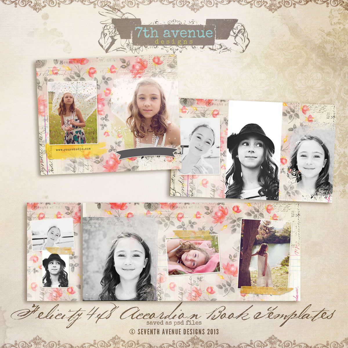 Felicity 4x8 Accordion book templates