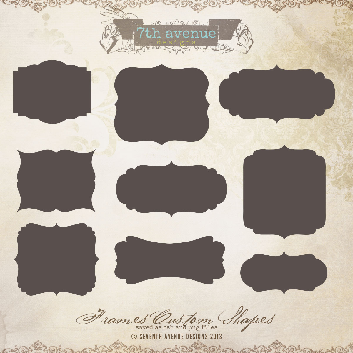 Frames Custom Shapes [csh-frames] - $8.00 : 7thAvenue Designs ...