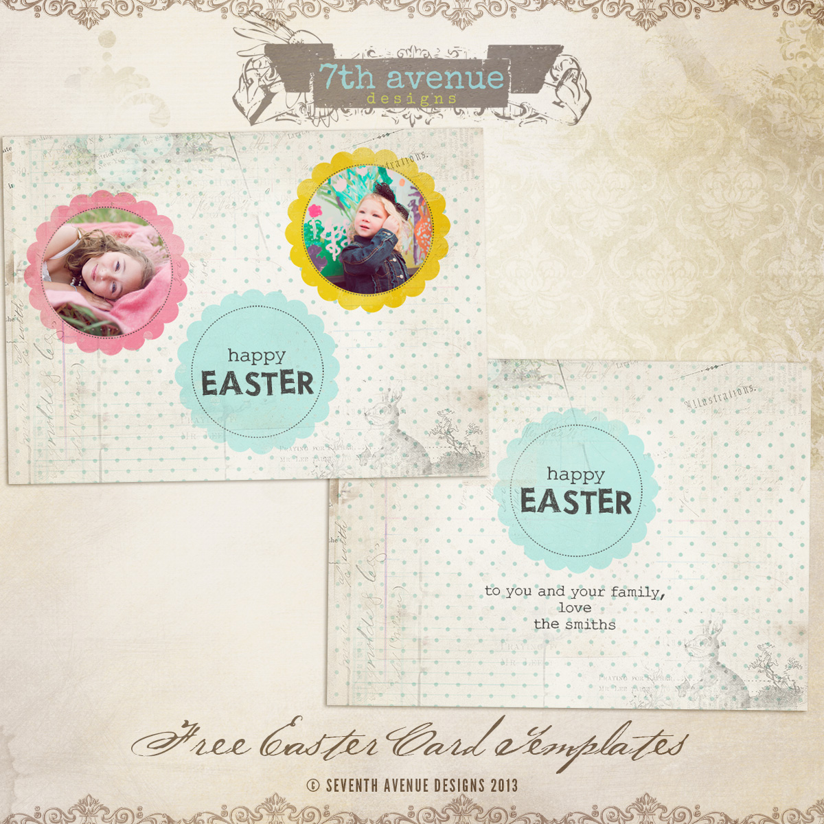 Easter Flat Card Templates cardseaster 400 7thAvenue – Easter Card Template