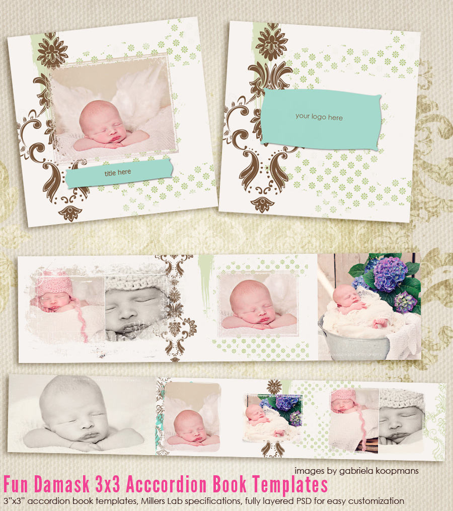 Fun Damask 3x3 Accordion book templates