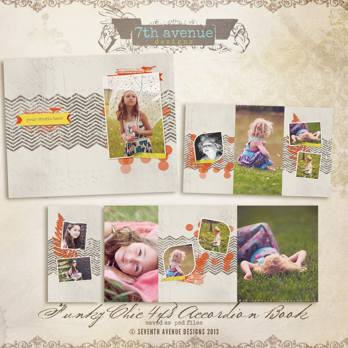 Funky Chic 4x8 Accordion book templates