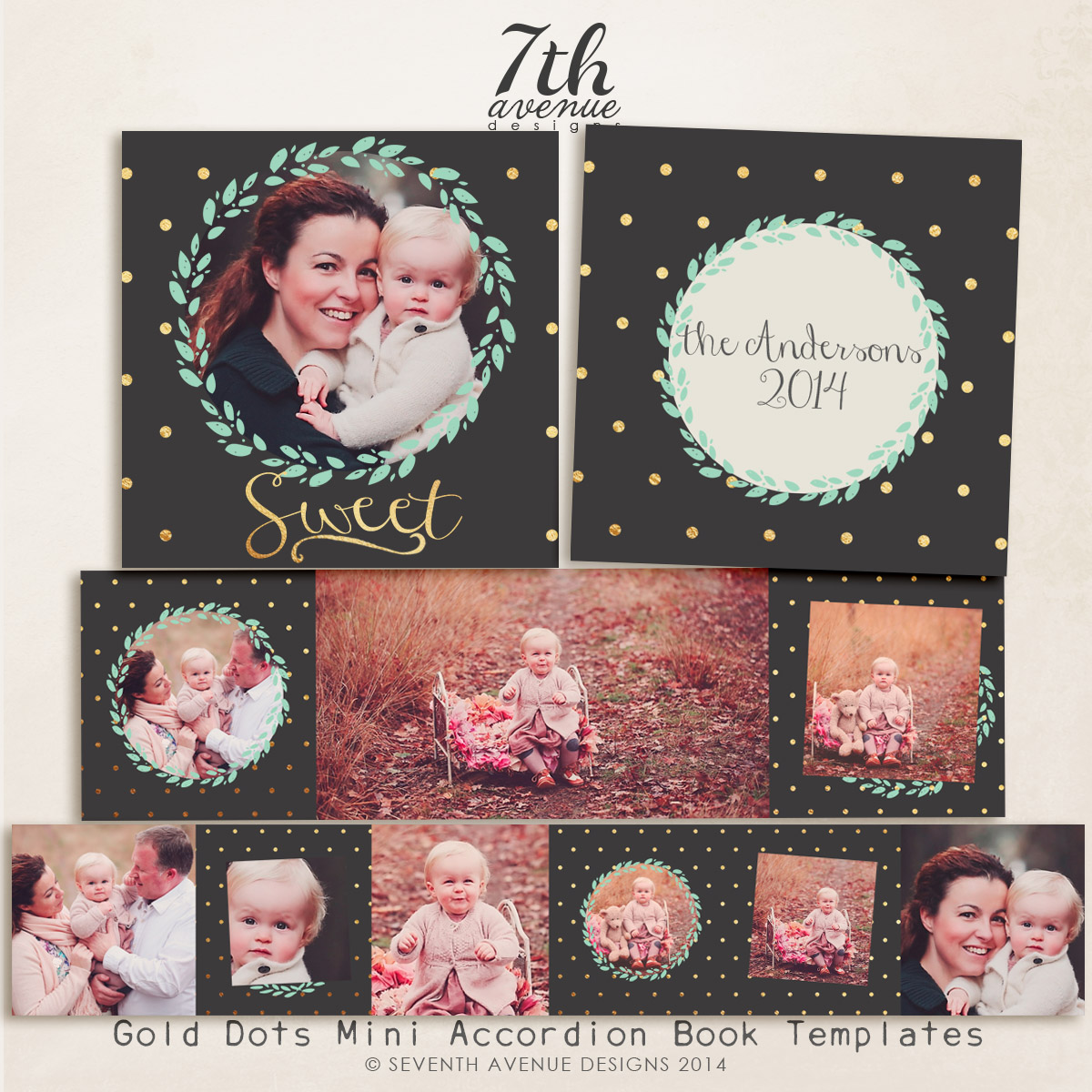 Gold Dots 3x3 Accordion book templates