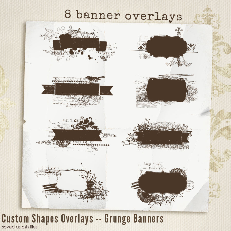 Grunge Banner Shapes Overlays