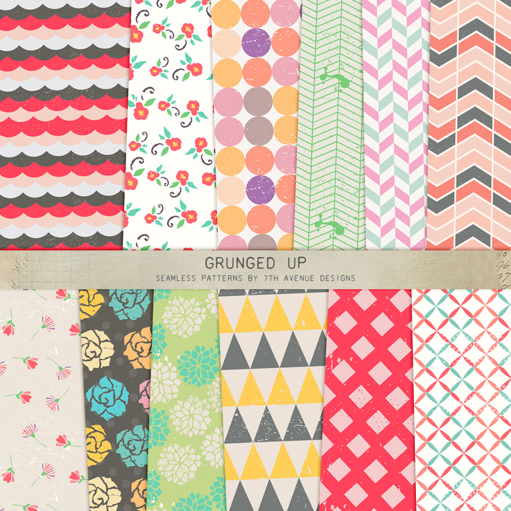 Grunged Up Seamless Patterns