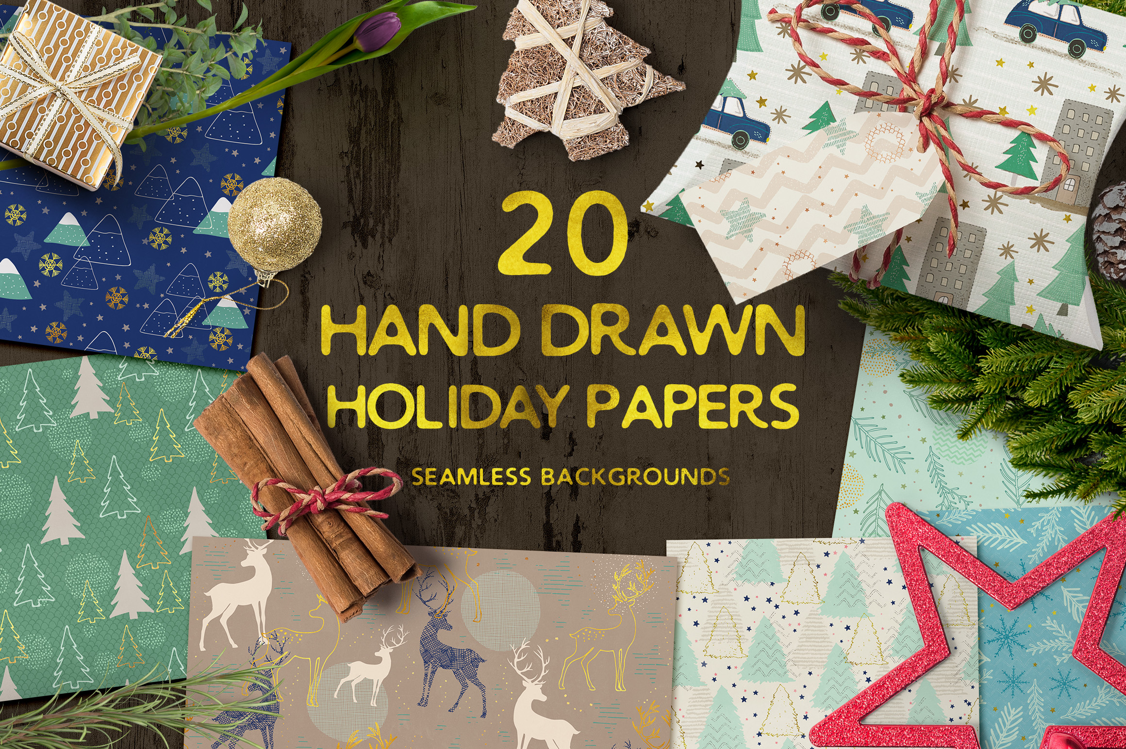 Hand Drawn Seamless Holiday Papers