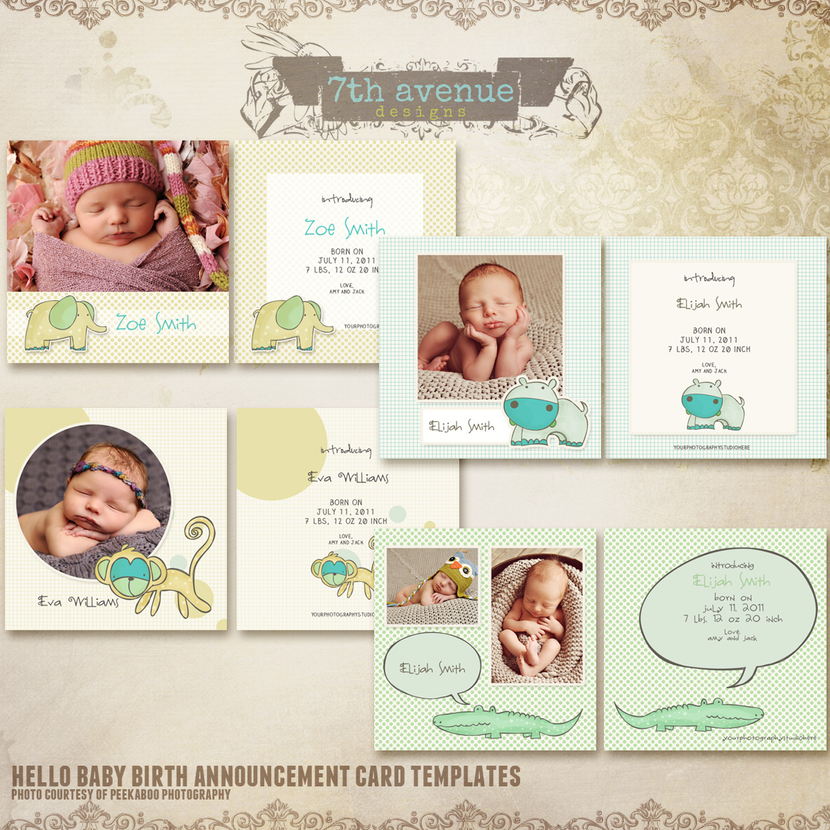 hello baby birth announcement card templates cards