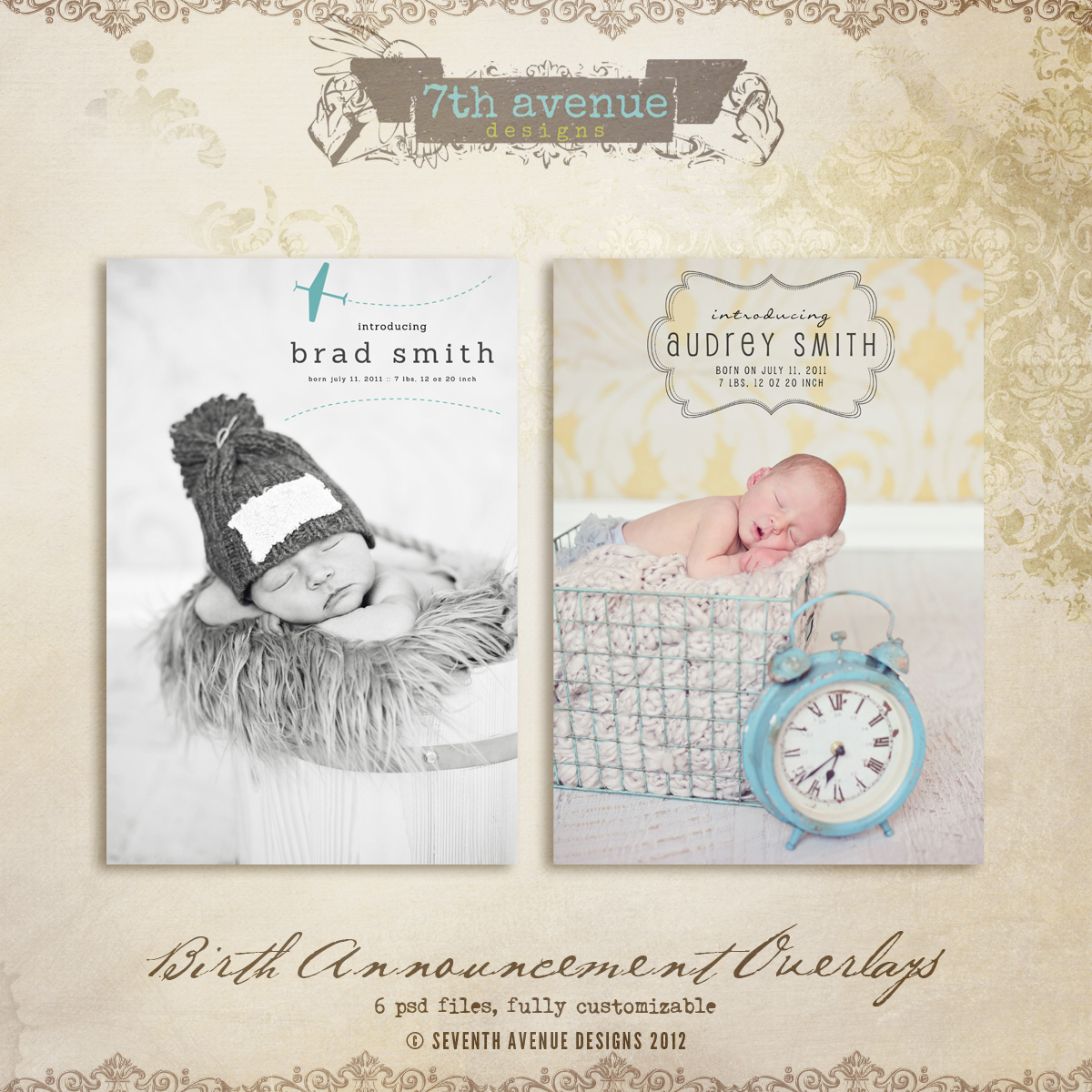 Birth Announcement Overlays vol.1 - Click Image to Close