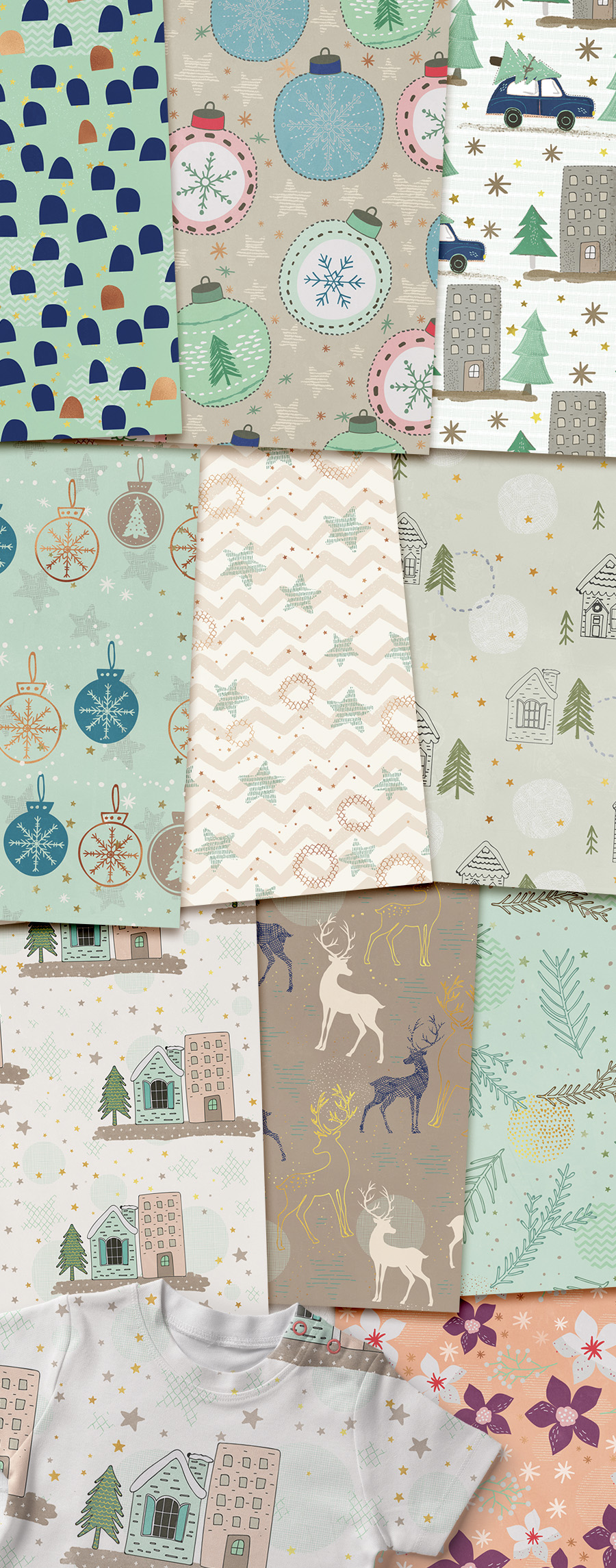 Hand Drawn Seamless Holiday Papers - Click Image to Close