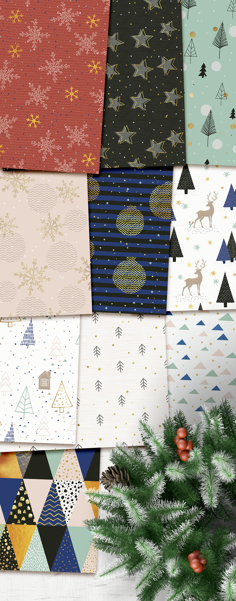 Trendy Seamless Holiday Papers - Click Image to Close