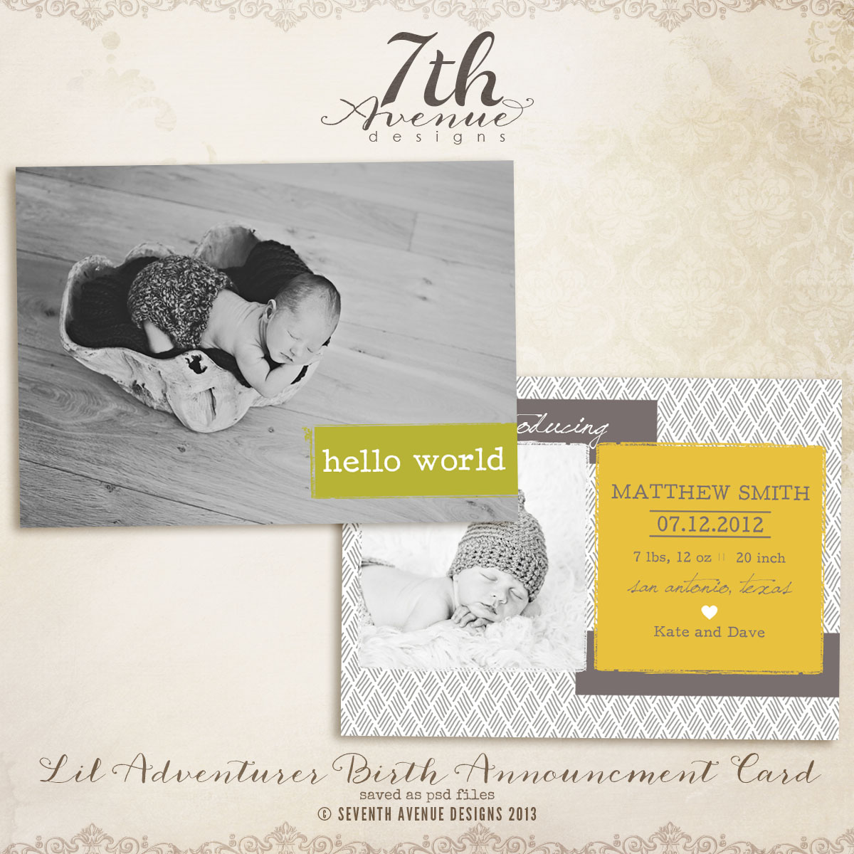 Lil Adventurer Announcement Card Templates