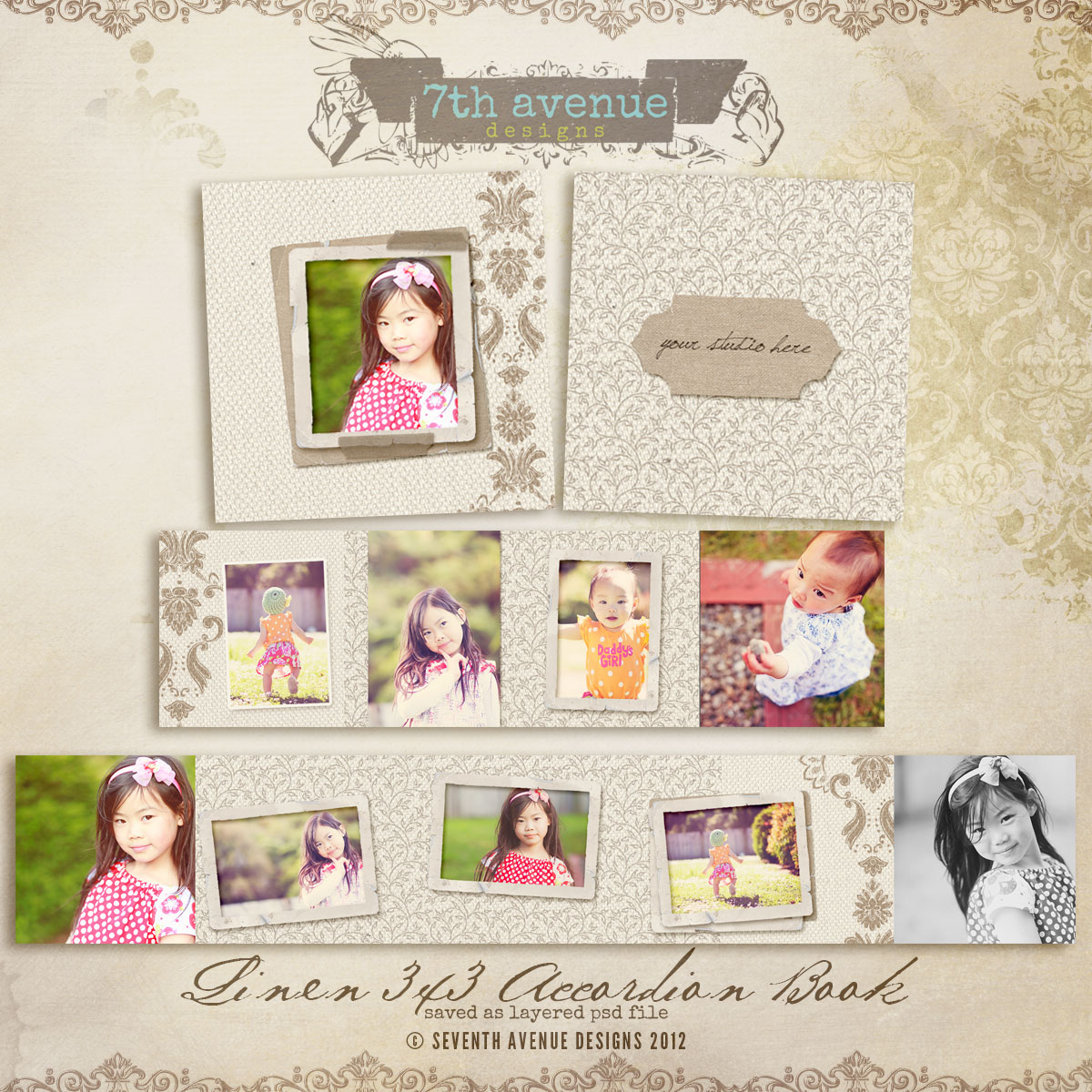Linen 3x3 Accordion mini templates