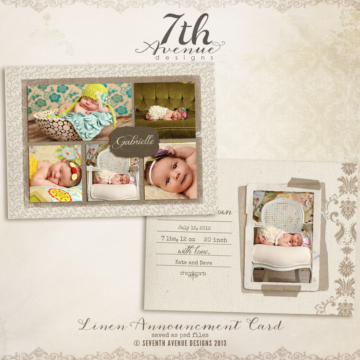 Linen Birth Announcement Card Templates