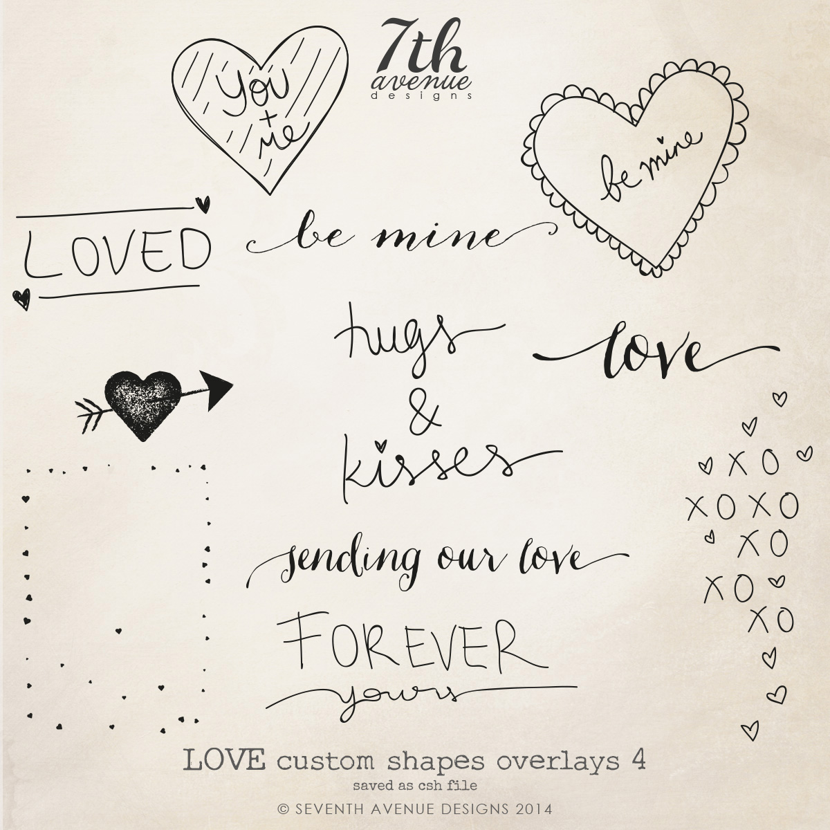 Love Themed Custom Shapes Overlays vol.4