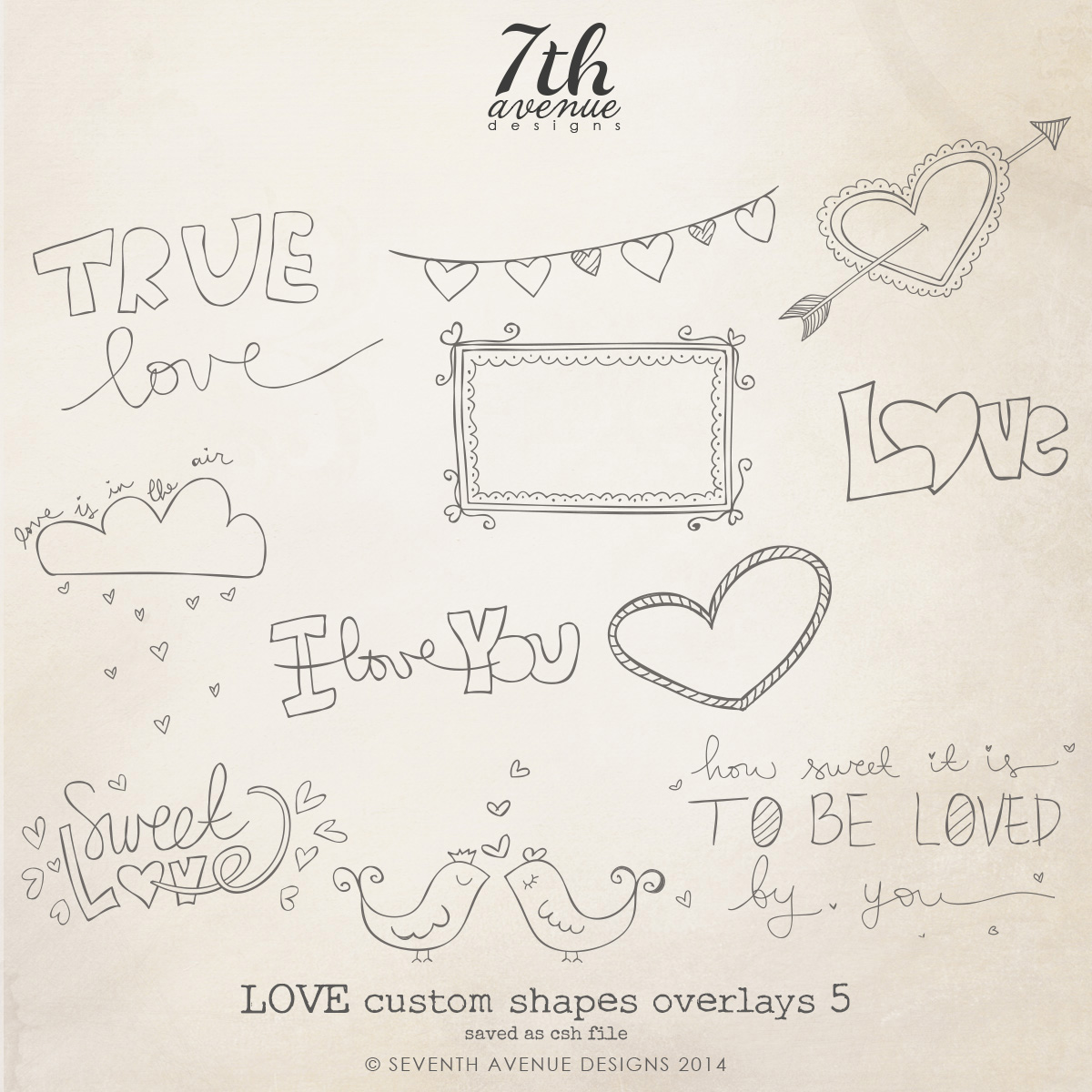 Love Themed Custom Shapes Overlays vol.5