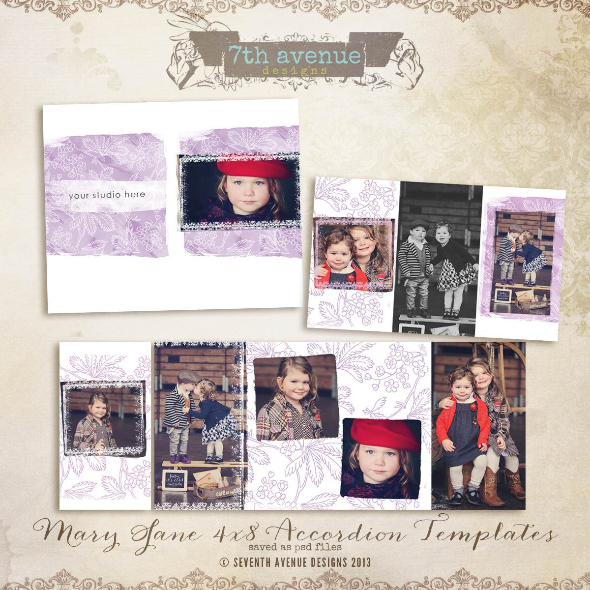 Mary Jane 4x8 Accordion book templates