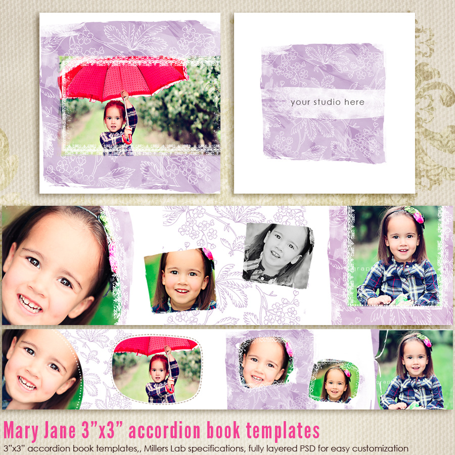 Mary Jane 3x3 Accordion book templates