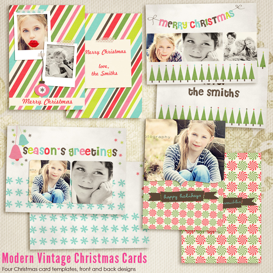 Modern vintage christmas cards 1 7th modernchristmas1 for Free christmas card templates for photographers