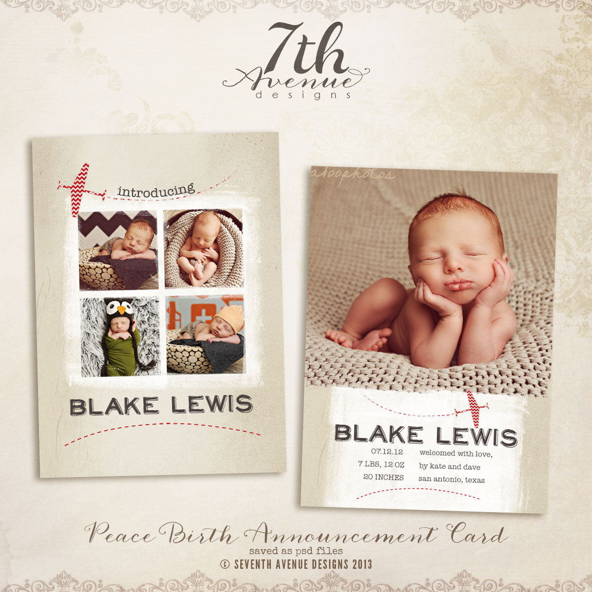 Peace Birth Announcement Card Templates