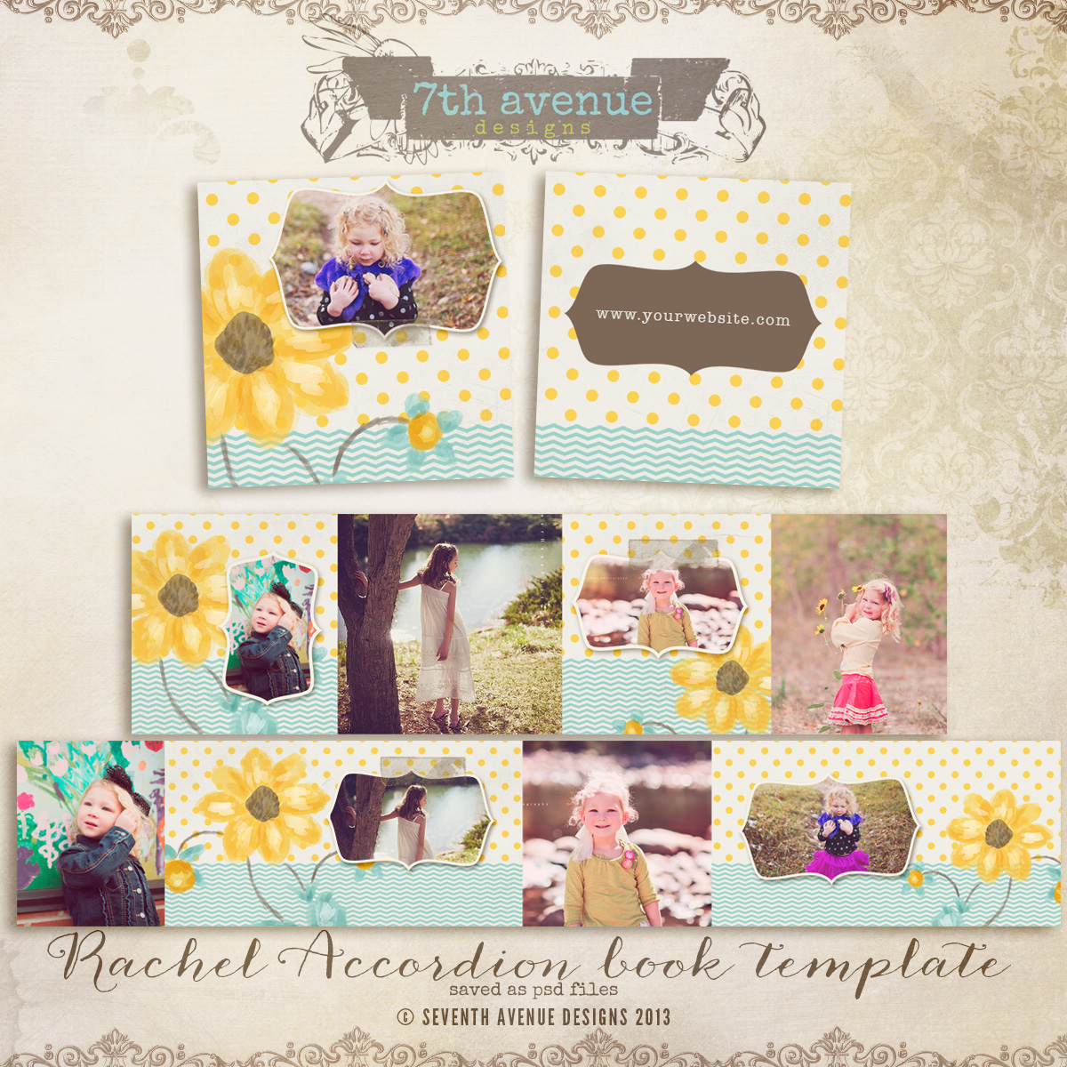 Rachel 3x3 Accordion mini templates