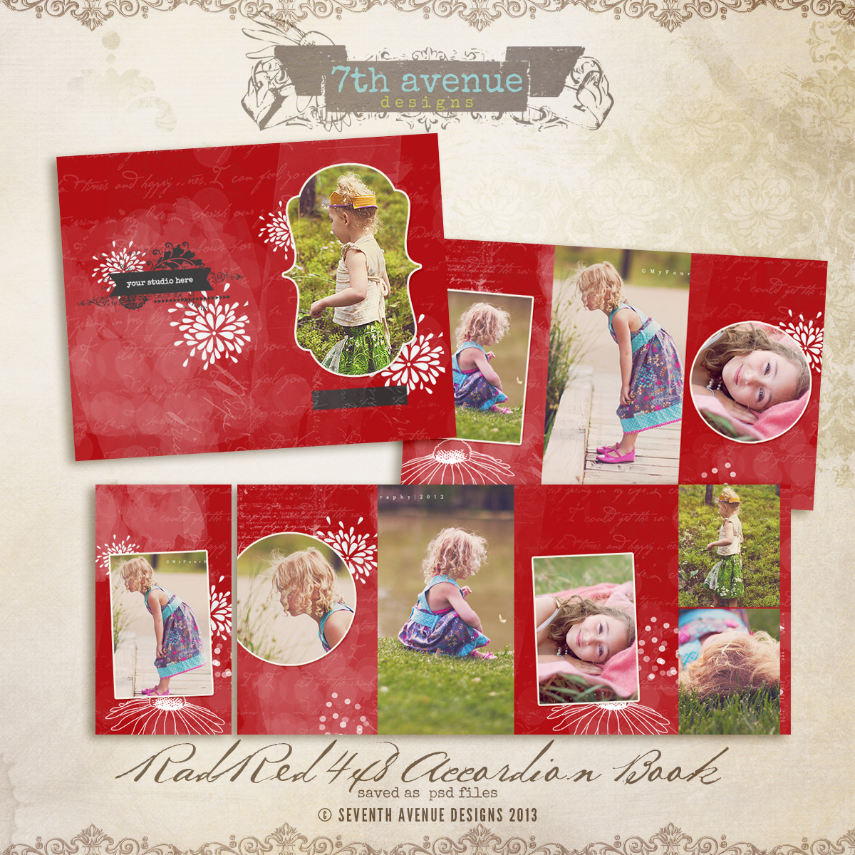 Rad Red 4x8 Accordion book templates