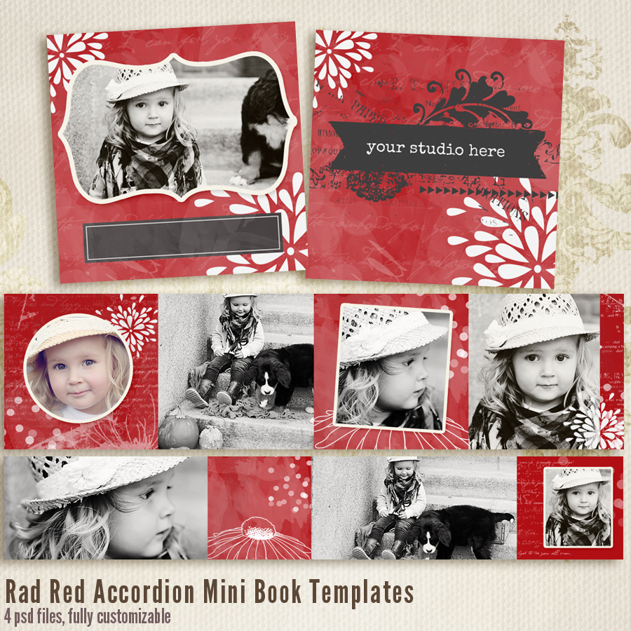 Rad Red 3x3 Accordion book templates