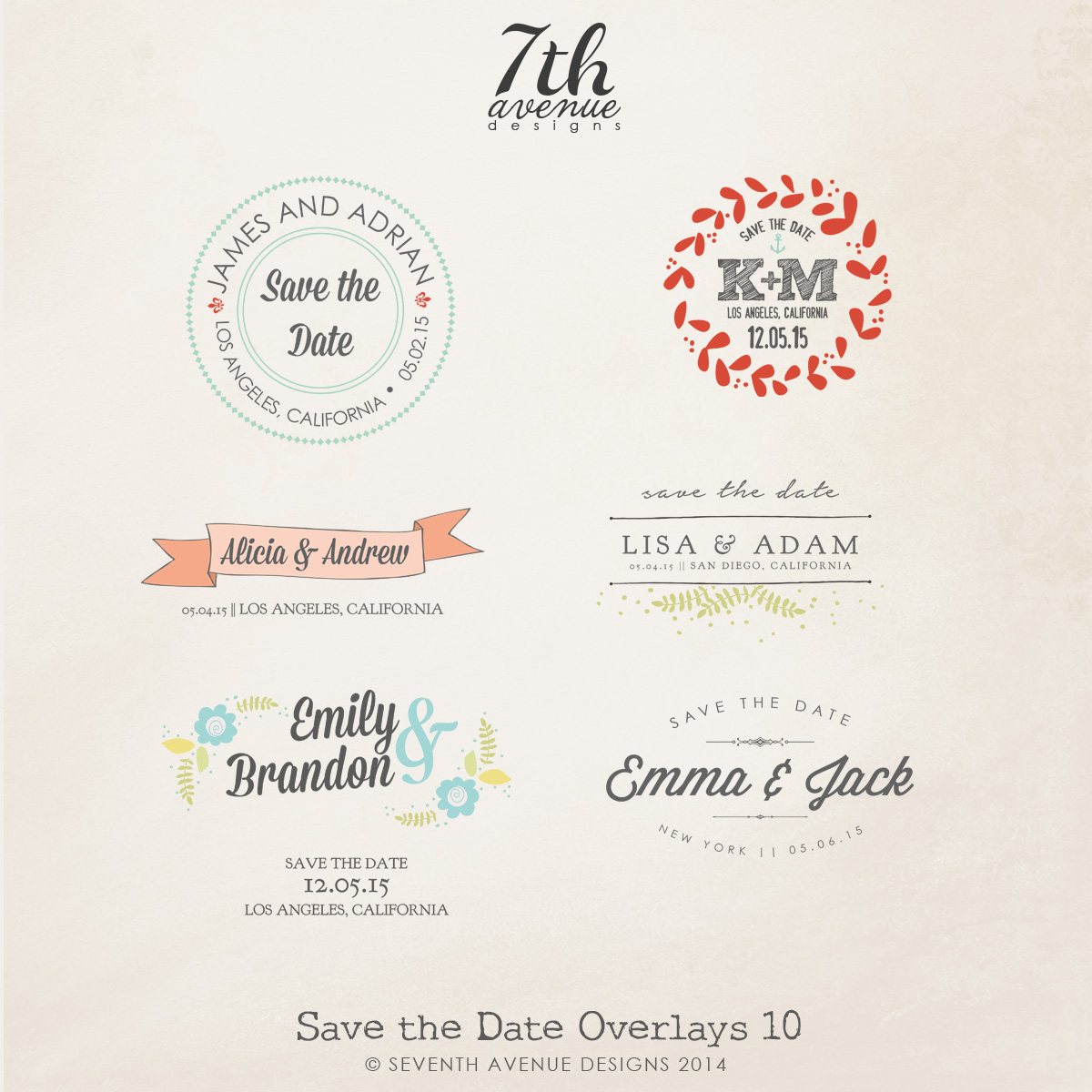 Save the Date Word Overlays vol.10
