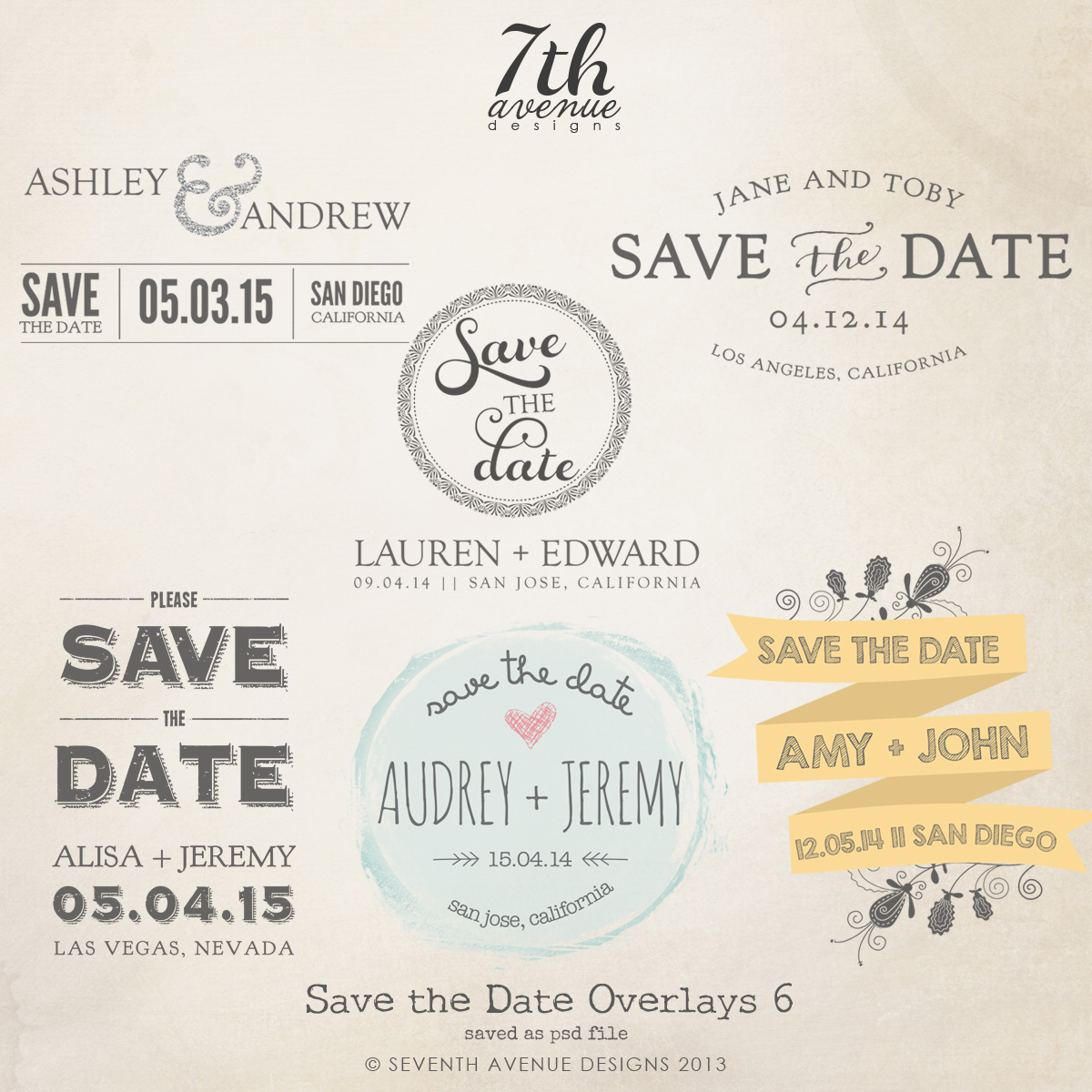 Save the Date Word Overlays vol.6