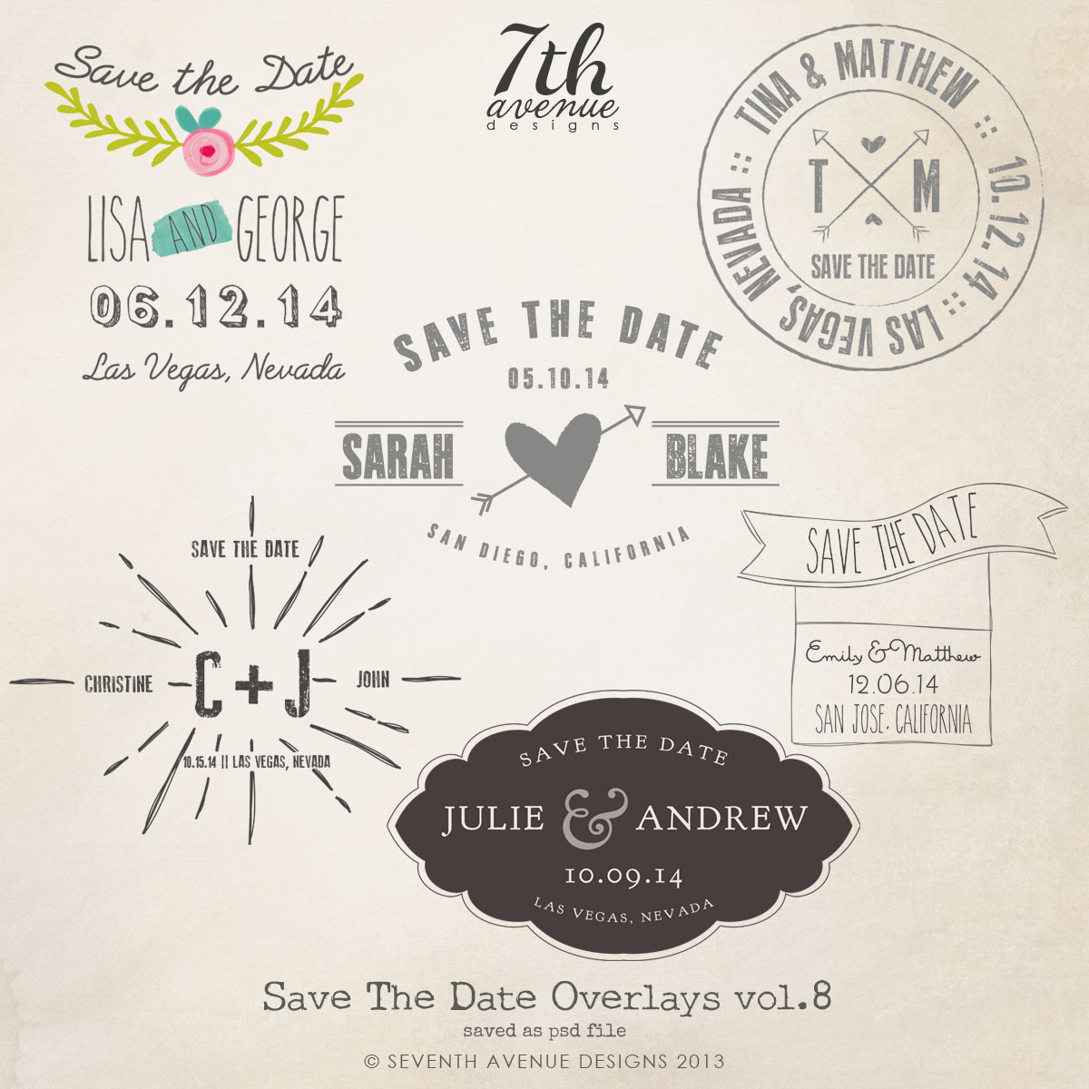 Save the Date Word Overlays vol.8