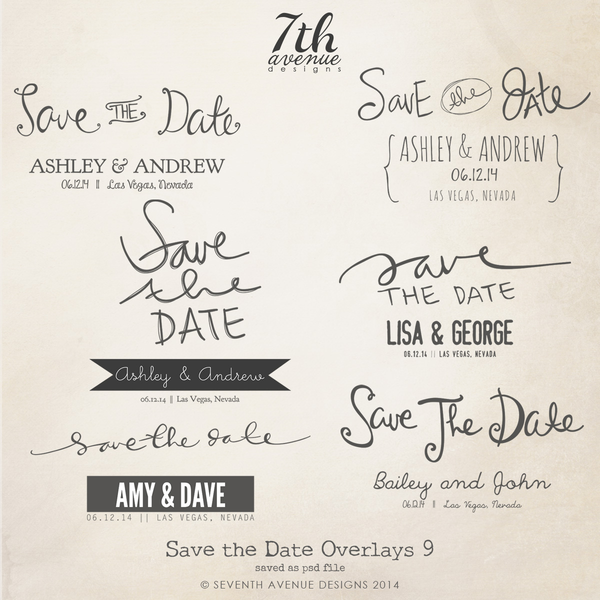 Save the Date Word Overlays vol.9