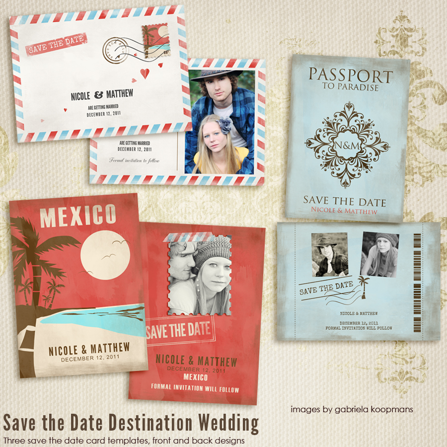 Save The Date Destination Wedding CARD templates