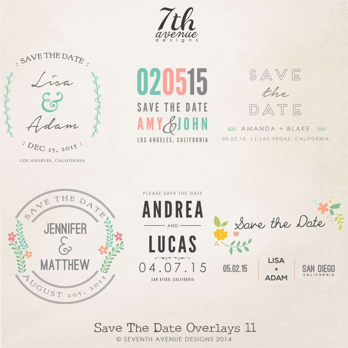 Save the Date Word Overlays vol.11