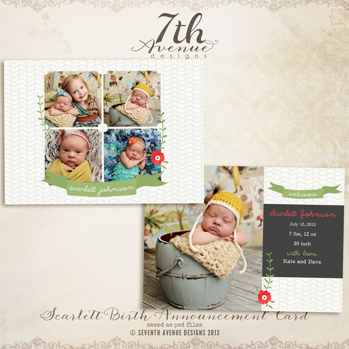 Scarlett Birth Announcement Card Templates