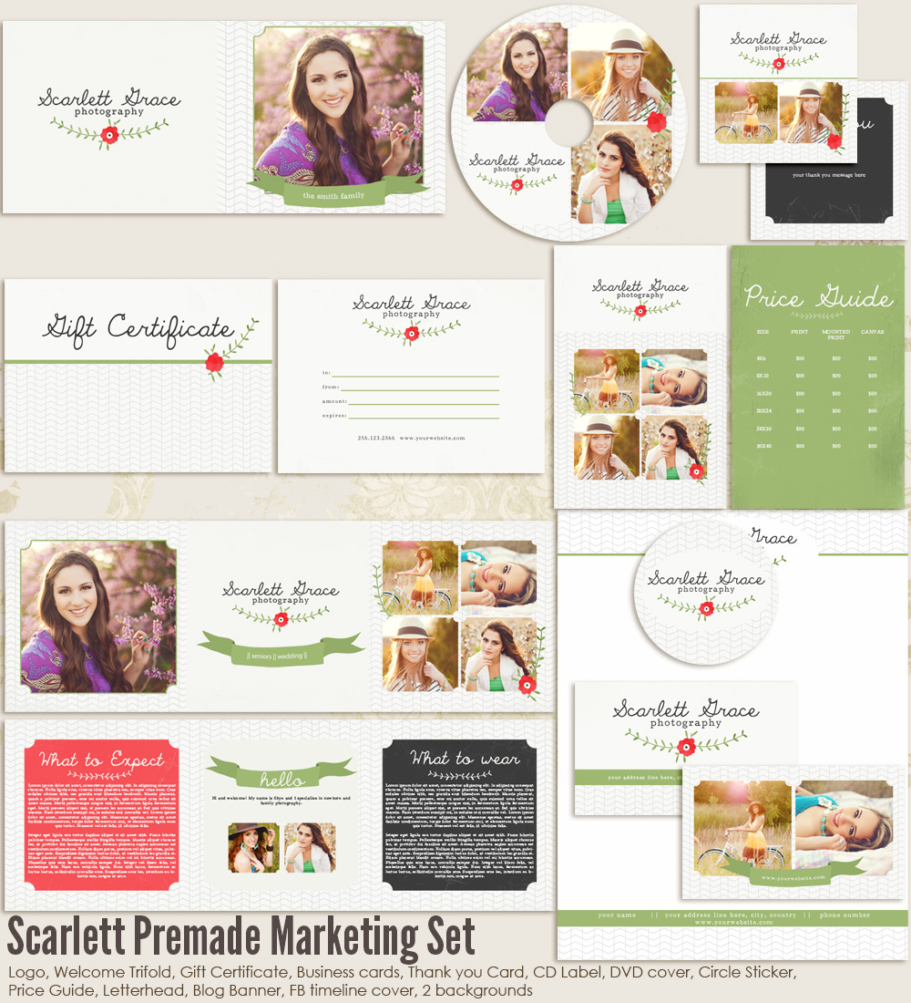 Scarlett Premade Marketing Set