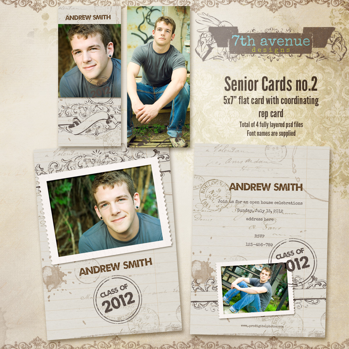 Senior Card Templates no.2