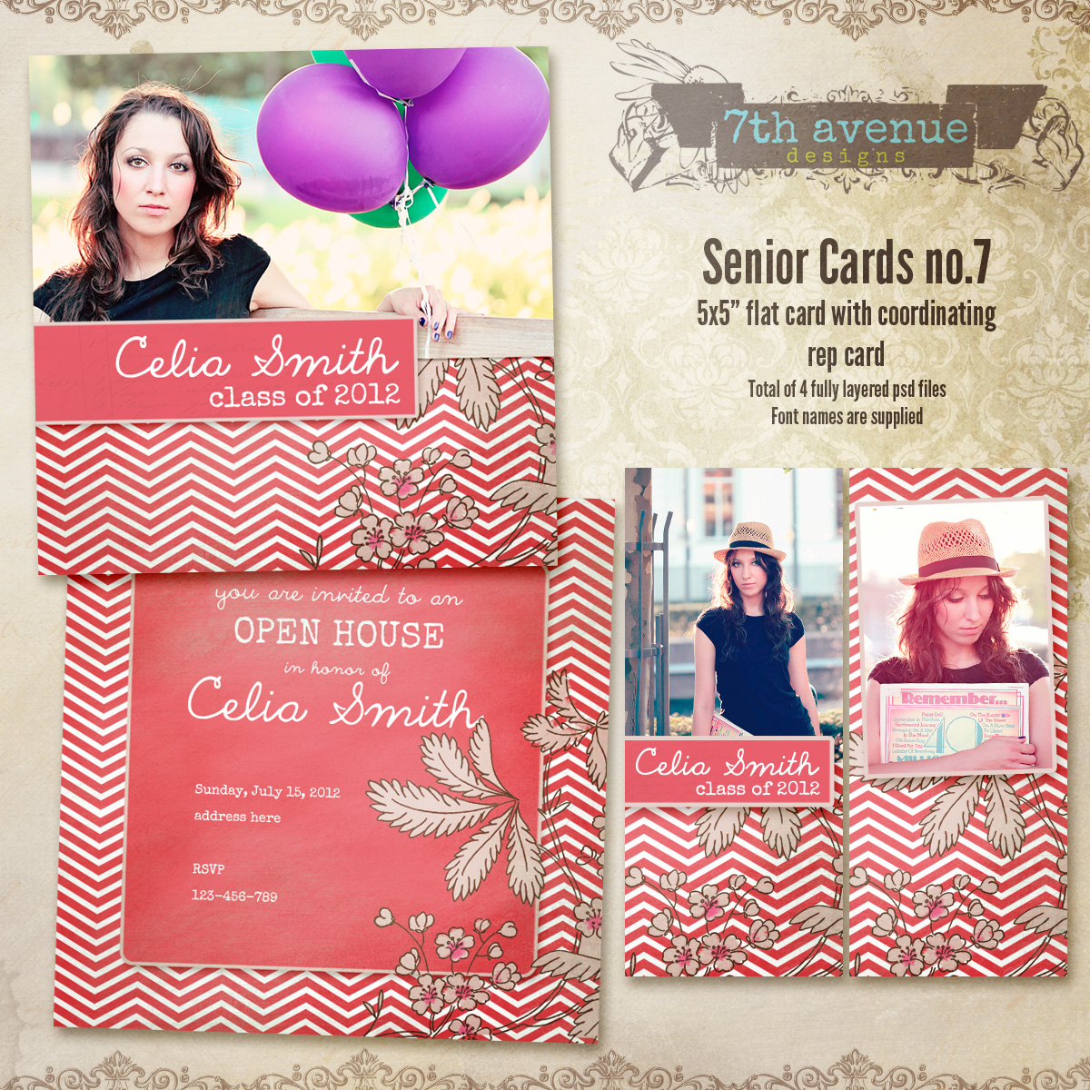 Senior Card Templates no.7