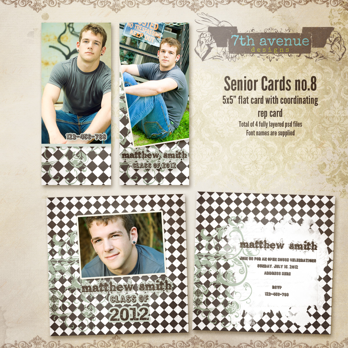 Senior Card Templates no.8