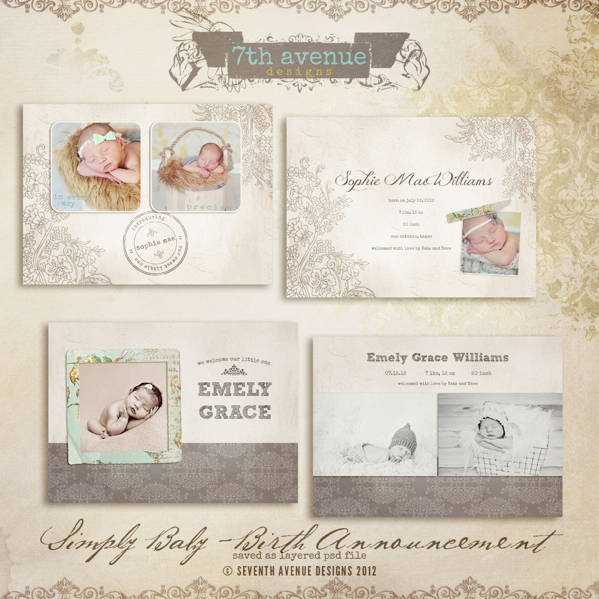 Simply Birth Announcement Card Templates