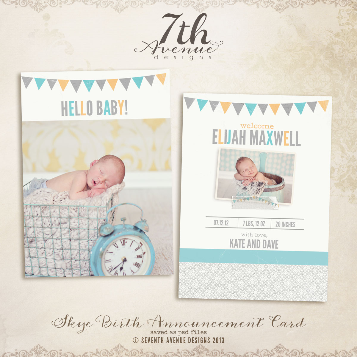 Skye Birth Announcement Card Templates