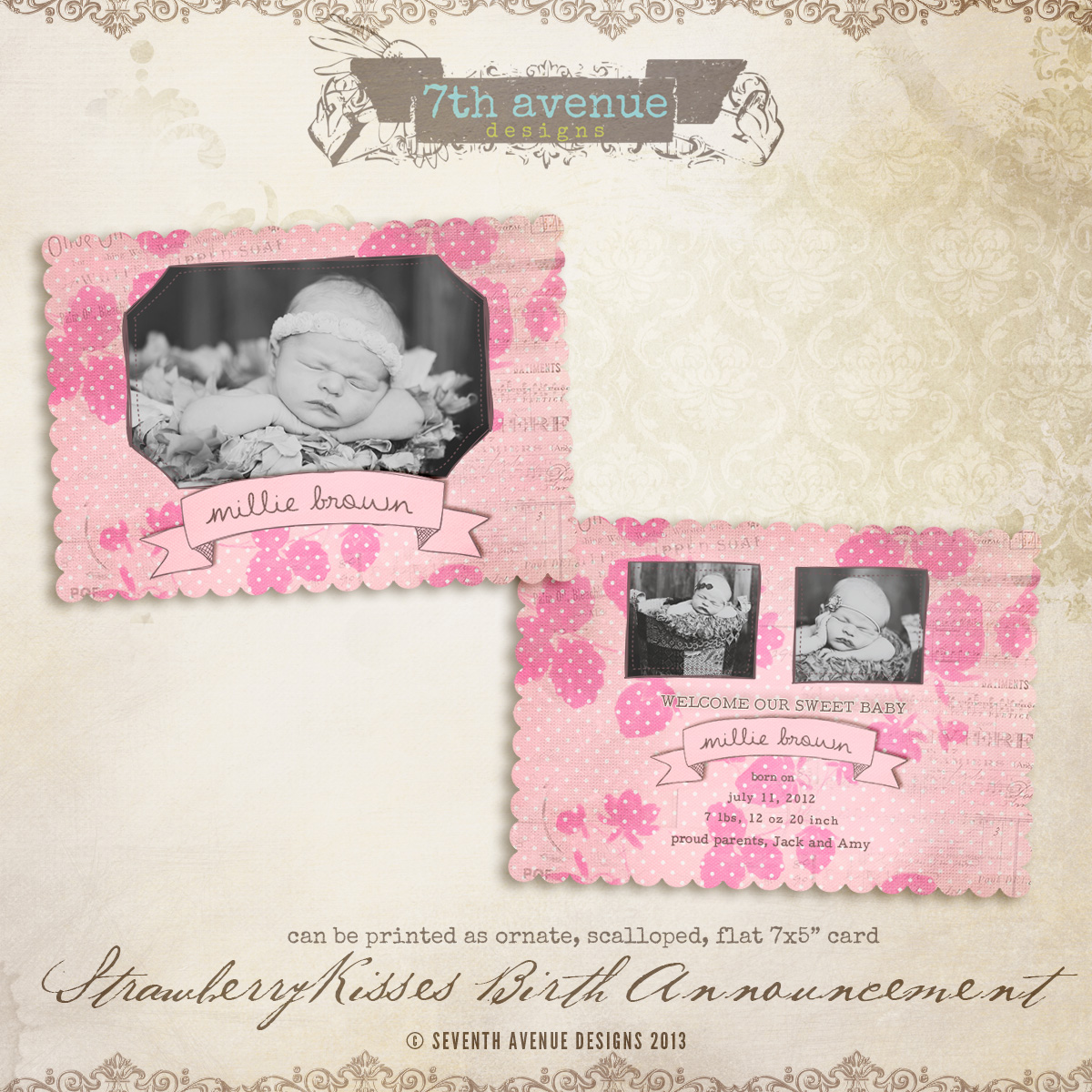 Strawberry Kisses Birth Announcement Card Templates