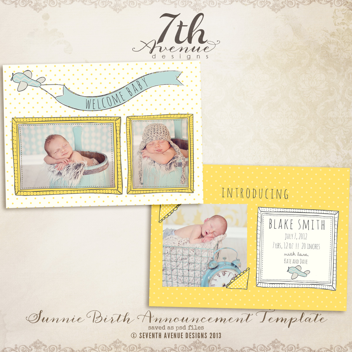 Sunnie Birth Announcement Card Templates