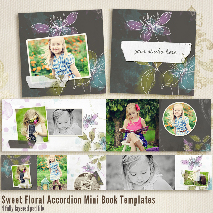 Sweet Floral 4x8 Accordion book templates
