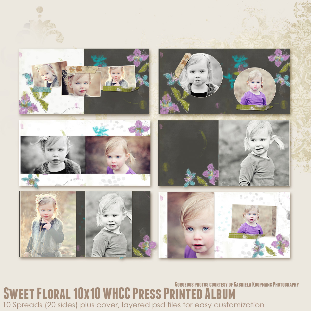 Sweet Floral 10x10 WHCC Press Printed Album