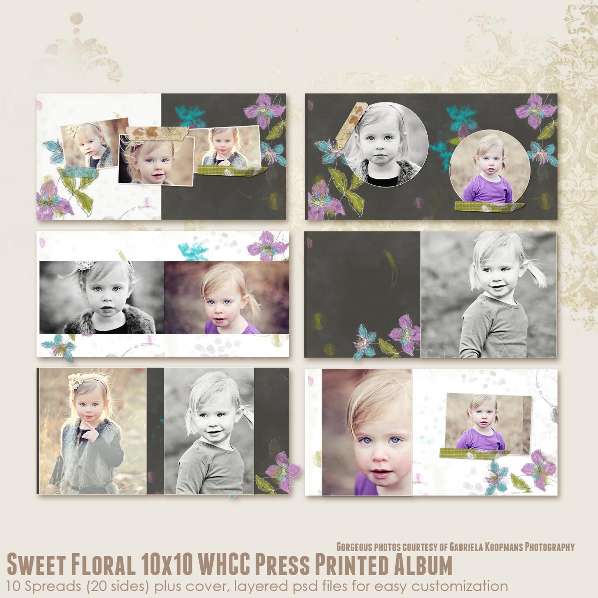 Printed Album: Sweet Floral 10x10 WHCC Press Printed Album [albums