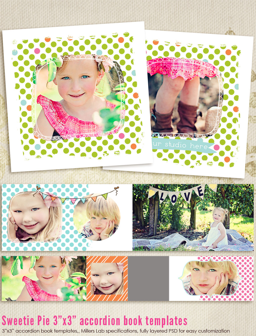 Sweetie Pie 3x3 Accordion book templates