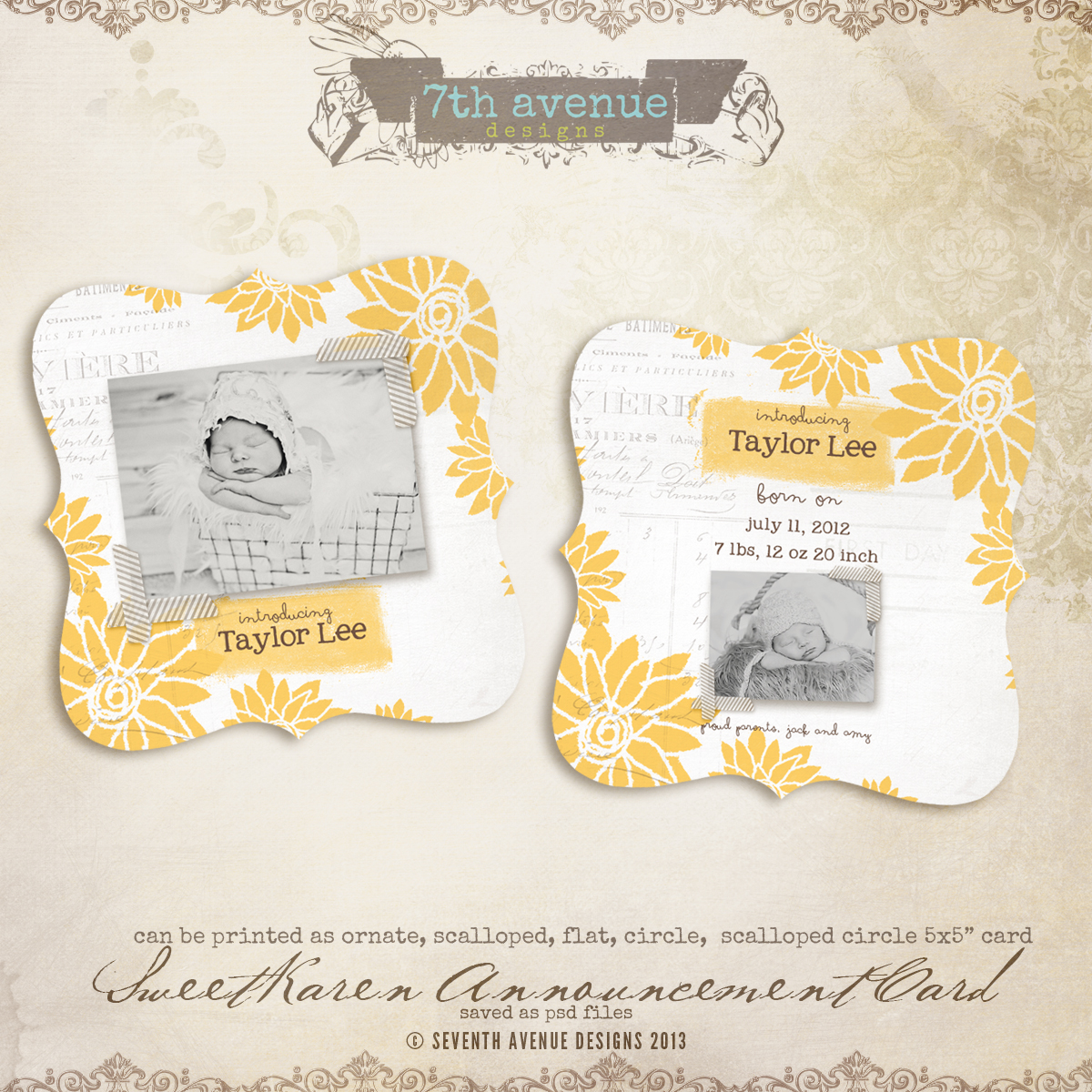 Sweet Karen Birth Announcement Card Templates