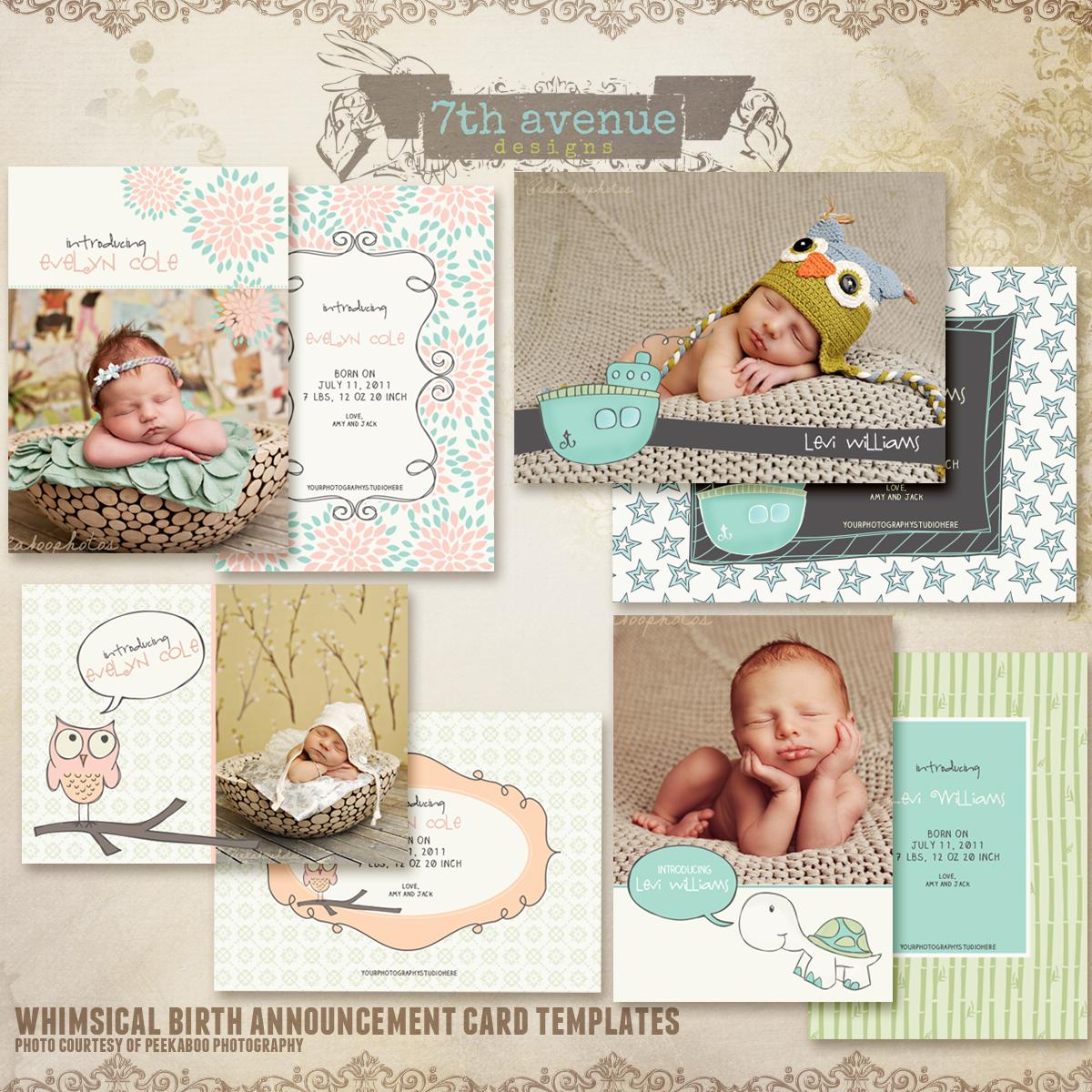 Whimsical Birth Announcement Card Templates cardswhimsicalbac – Baby Announcement Card Templates