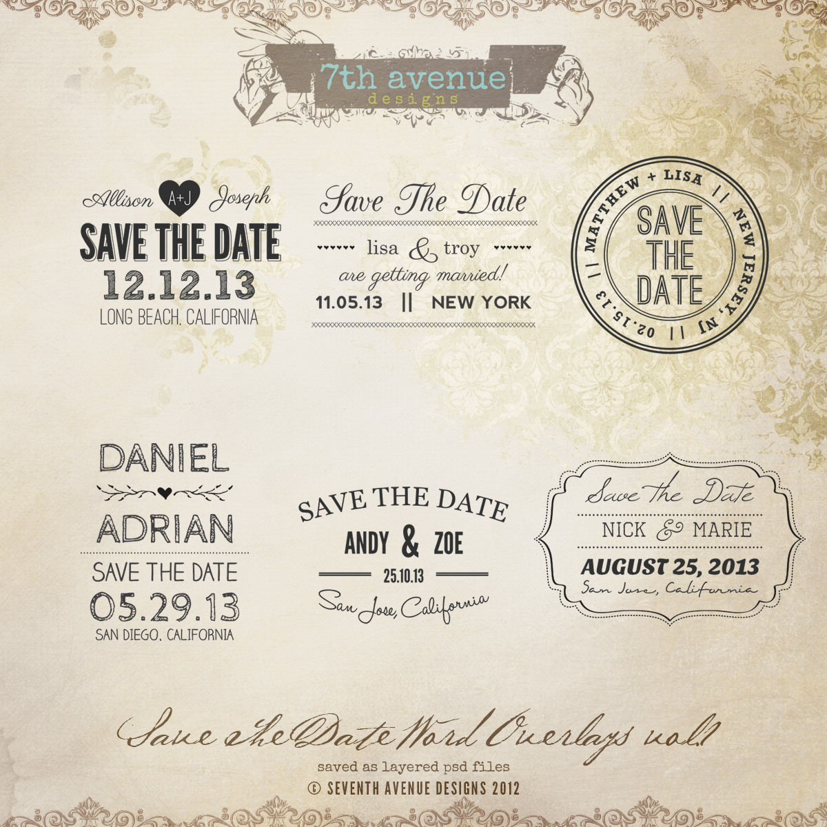 Top Save the Date Word Overlays vol.1 [overlays-savethedate1] - $10.00  LE85